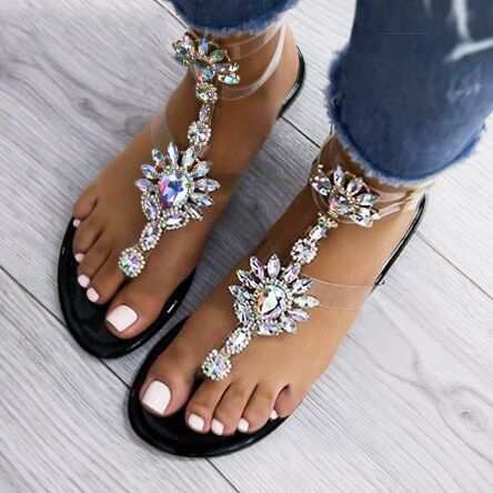 Sandals - Summer Women's Rhinestone Flat Sandals