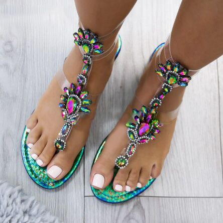 02713694b0845 Sandals - Summer Women's Rhinestone Flat Sandals
