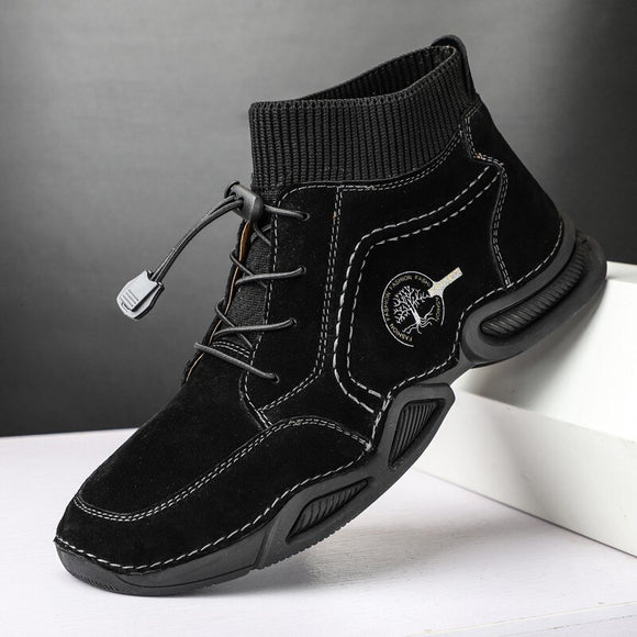 Kaaum Casual Leather High-top Male Vintage Street Boots