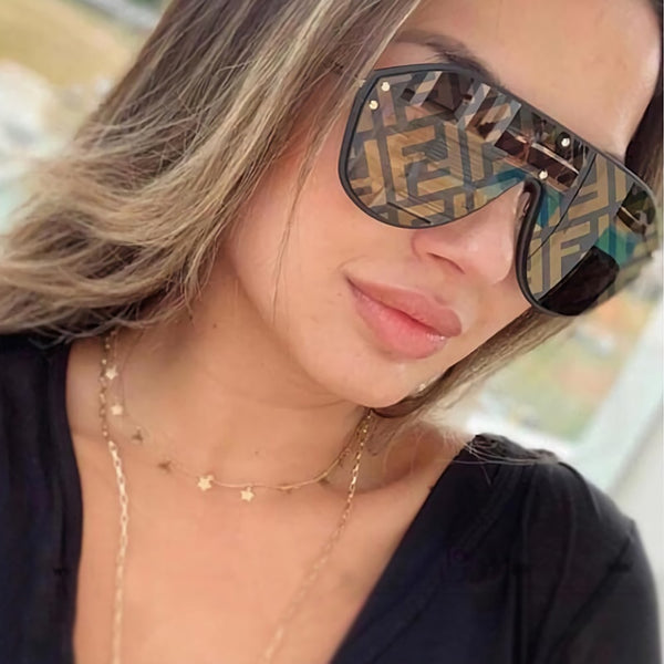 Fashion One Pieces Square Mirror Sunglasses