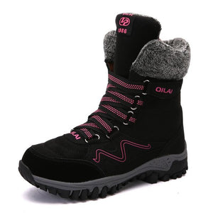 Women New High Quality Leather Suede Winter Keep Warm Lace-up Waterproof Snow Boots