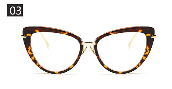 Sunglasses - Trendy Cute Metal Frame Cat Eye Eyeglasses
