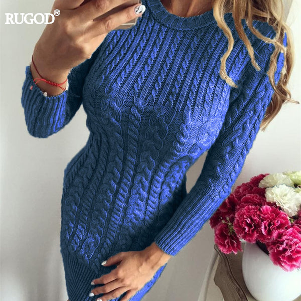 Women's Clothing - 2018 New Autumn Winter Sexy Slim Warm Sweater Dress