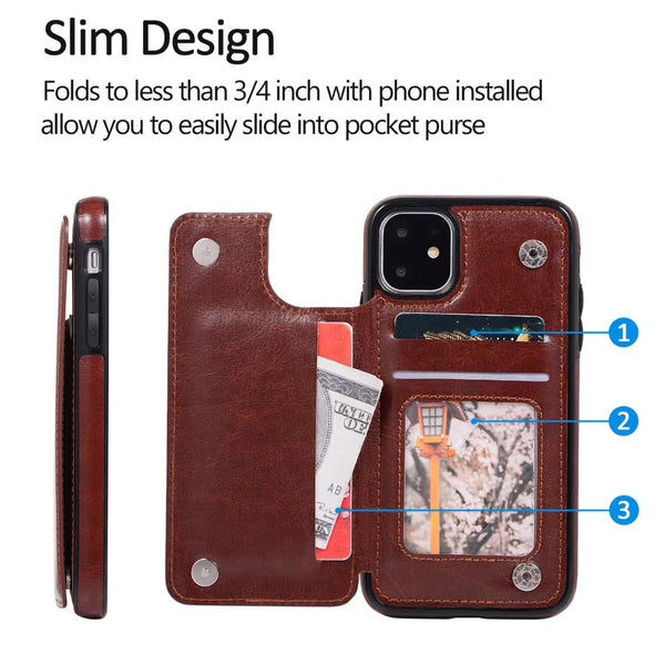 Case & Strap - 2020 Luxury Retro Leather Card Slot Holder Business Cover Case For iPhone 11 11Pro 11Pro MAX XS MAX X XR 8 7 6S 6Plus