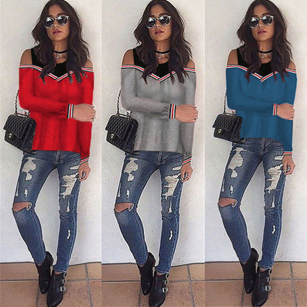 Women's Clothing - 2018 Off Shoulder Patchwork Sweatshirt  (BUY ONE GET ONE 20% OFF)