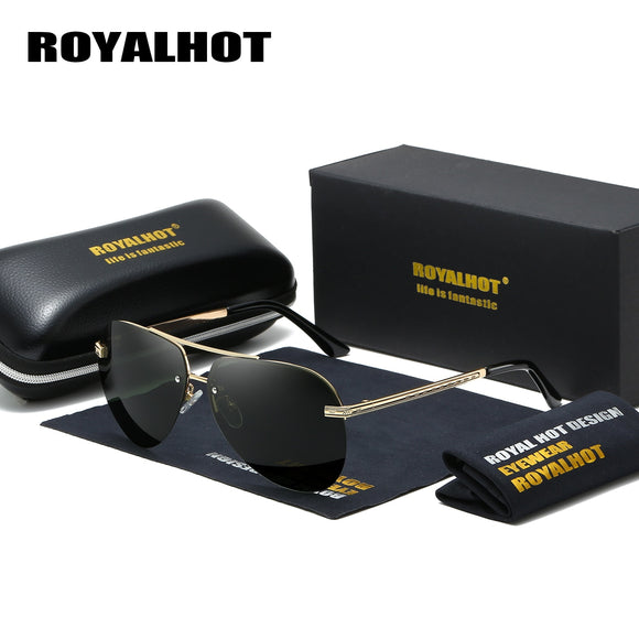 Men Polarized Aloy Oval Retro Driving Sun Glasses Shades