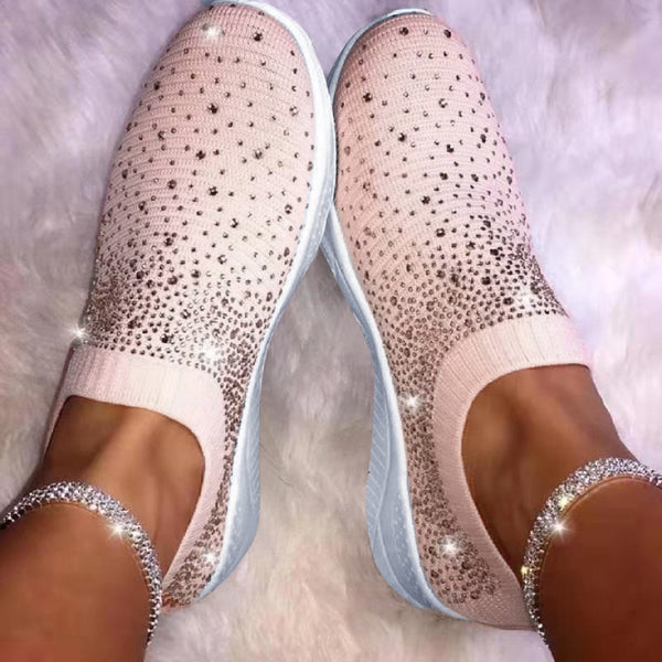 Kaaum-2020 Ladies Ankle Flat Loafers Crystal Fashion Casual Shoes