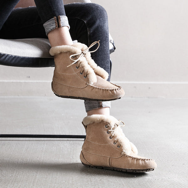 Fashion Lace Up Plush Ankle Boots