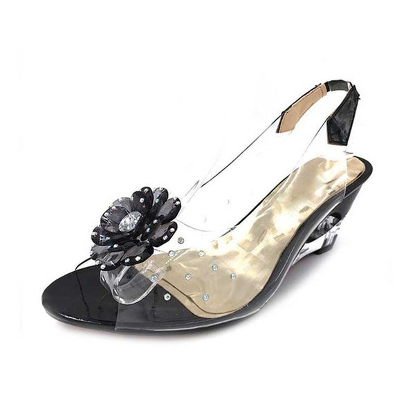 Women's Shoes - Flower Transparent Wedge Heel Sandals