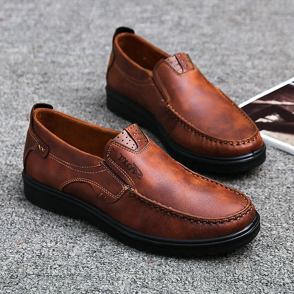 Plus Size Retro Color Soft Sole Casual Men Driving Shoes