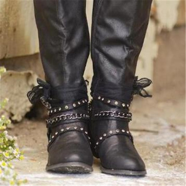 Women Fashion High Top Retro Leather Motorcycle Boots