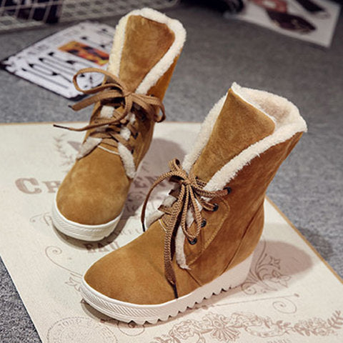 Women's Shoes - New Arrival Flock Leather Plush Wedge Boots