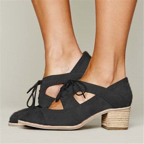 Women Daily Lace-up Loafers Cutout Low Heel Oxford Shoes