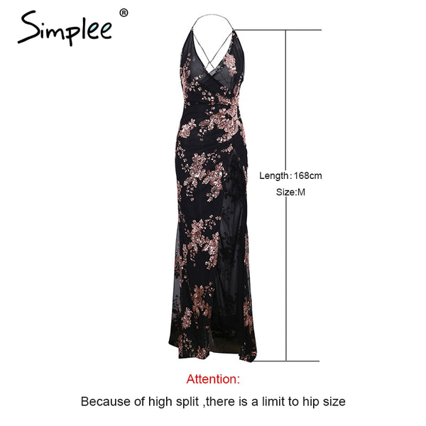 Women Backless High Split Maxi Dress
