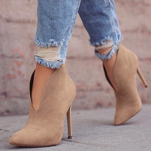 Autumn Pointed Toe V Shape Cut Suede Pumps