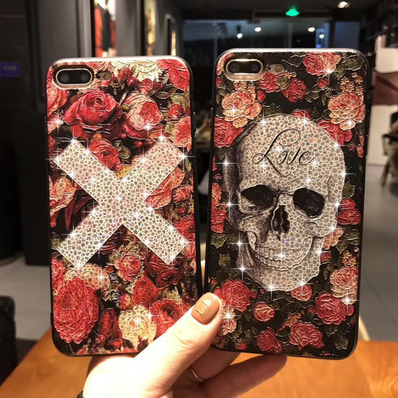 Skull Glitter Bling Flower Case For iPhone ( Buy One Get One 20% Off)
