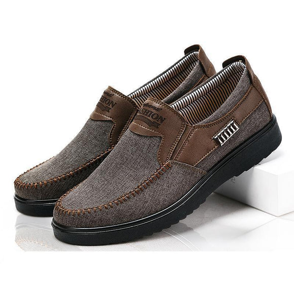 Kaaum Large Size Hand Stitching Slip On Casual Shoes For Men