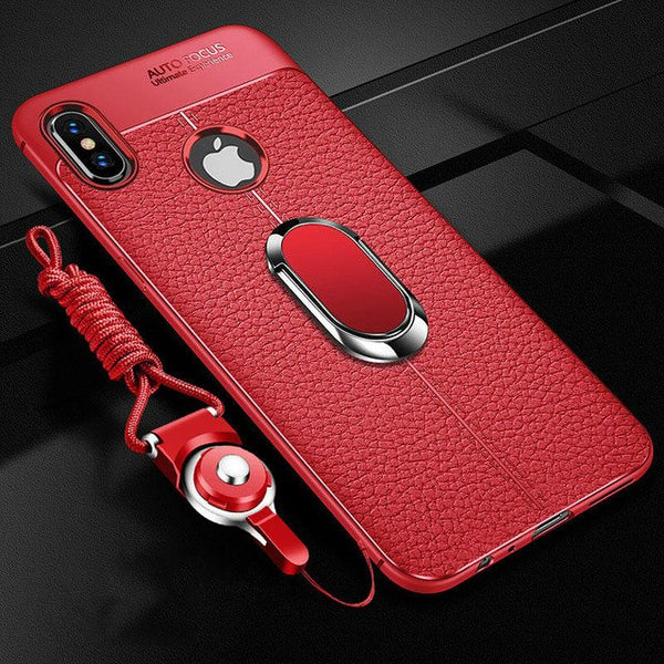 purchase cheap a6562 5fa0d Soft Silicone PU Leather Case With Magnetic Holder + Free Strap For iphone  6 6S 7 8 Plus X XS MAX XR