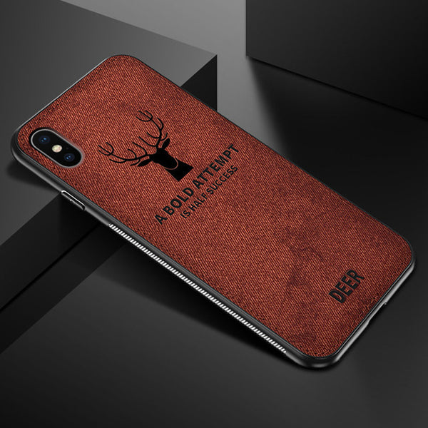 Phone Case - Luxury Deer Canvas Embossed Soft TPU Protective Phone Case For iPhone XS/XR/XS Max 8/7 Plus
