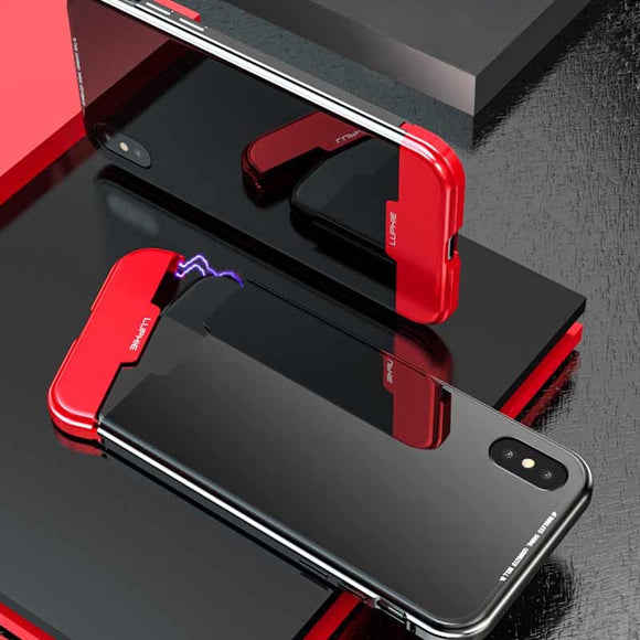 Phone Accessories - Splice Color Magnetic Metal Frame Anti-knock Tempered Glass Cover Case for iPhone X XR XS MAX
