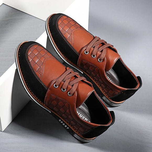 Men Fashion Split Leather Lace-Up Shoes
