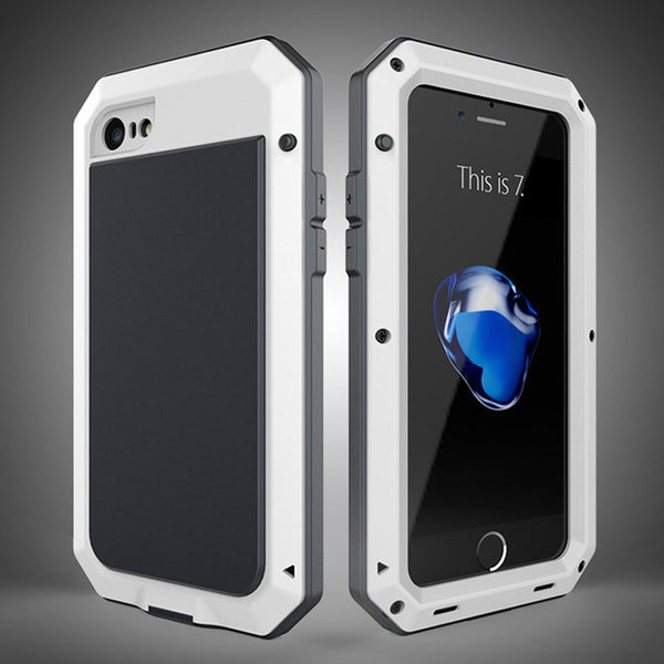 online store d3b5a 27194 Luxury Doom Armor Dirt Shock Waterproof Metal Aluminum Phone Case for  Iphone + Tempered Glass