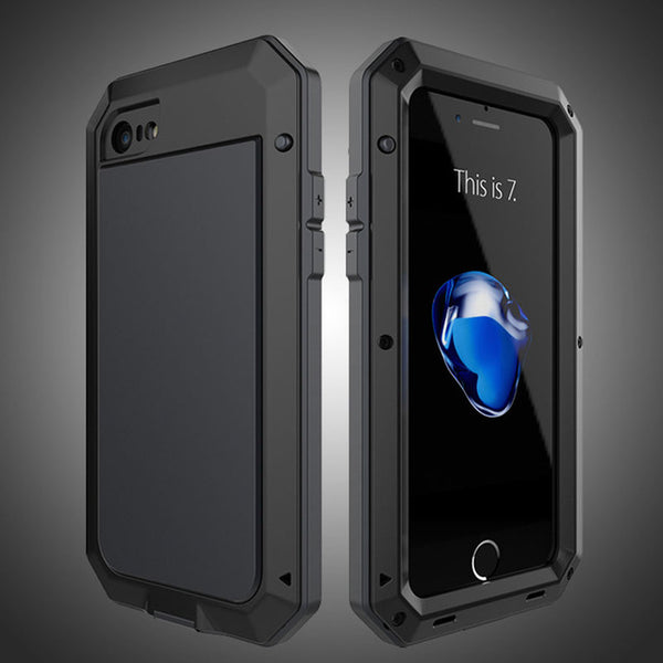 Luxury Doom Armor Dirt Shock Waterproof Metal Aluminum Phone Case for Iphone + Tempered Glass