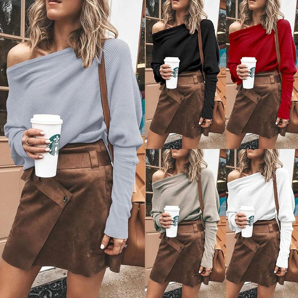 Women Spring Autumn Casual Loose T-Shirts Slash Neck Long Sleeve Streetwear