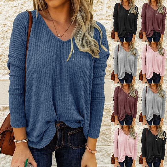 Women Spring Autumn Casual Loose T-Shirts V-neck Long Sleeve Ladies Solid Color Pullovers