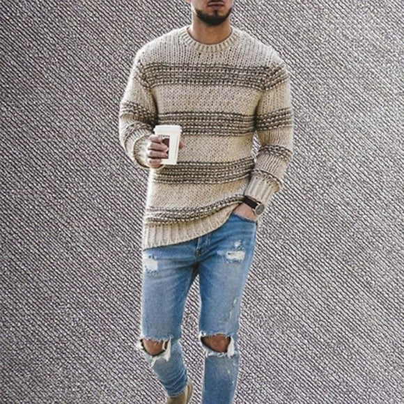 Striped Sweaters And Pullovers Men Long Sleeve Knitted Sweater