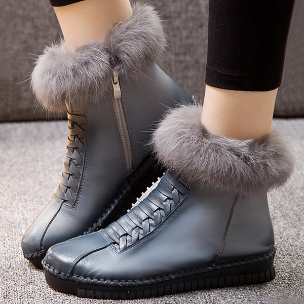 New Arrival Genuine Leather Ladies' Casual Waterproof Ankle Boots