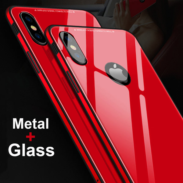 Phone Case - Luxury Tempered Glass Back Soft Silicone Metal Bumper Case For iPhone X 8/7/6S Plus