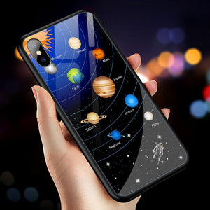 Luxury Star Space Tempered Glass Case For iPhone 7 8 Plus X XS MAX XR