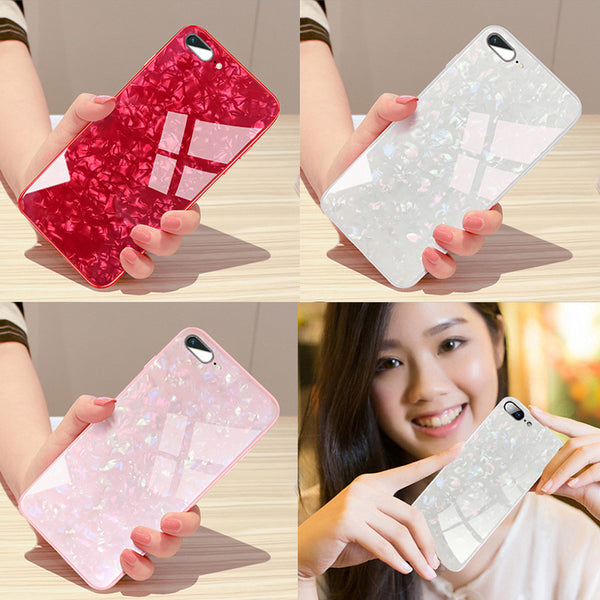Phone Case - Luxury Tempered Glass Back Cover Soft Silicone Bumper Phone Case For iPhone X 8/7 Plus