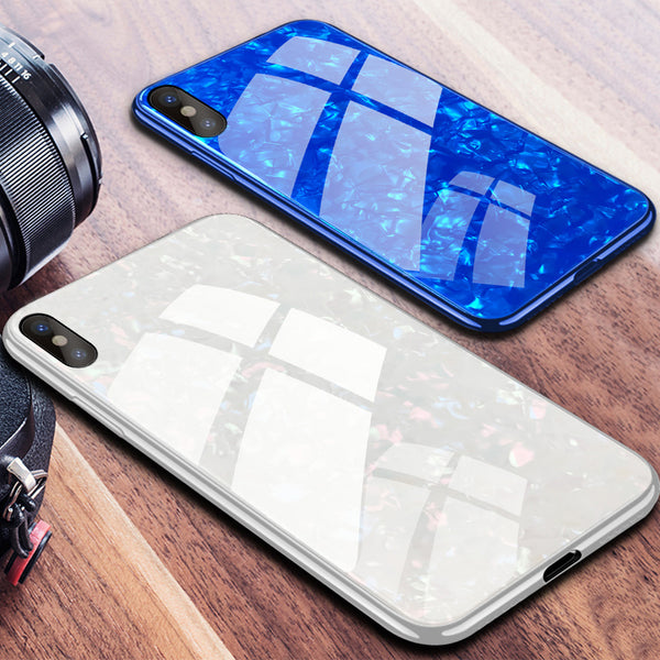 buy online 26322 53cd3 Phone Case - Luxury Tempered Glass Back Cover Soft Silicone Bumper Phone  Case For iPhone X 8/7 Plus