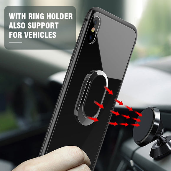Magnetic Car Stand TPU+Ultra Thin Tempered Glass For iPhone X XS XR XS Max+ SCREEN PROTECTOR ( FREE)