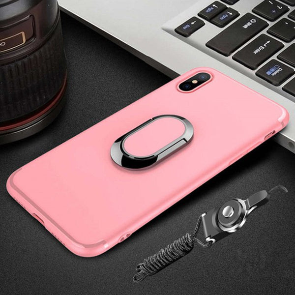 Tempered Glass Protective Phone Case +Magnetic Ring Holder +Strap