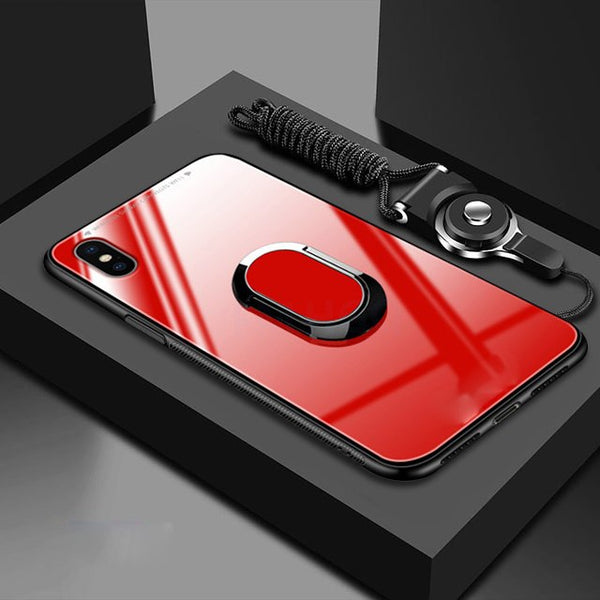 Tempered Glass Protective Phone Case +Magnetic Ring Holder +Strap For iPhone X XR XS MAX