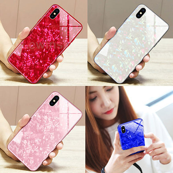 Phone Case - Luxury Bling Soft Frame Tempered Glass Cover For iPhone X 8/7/6S Plus
