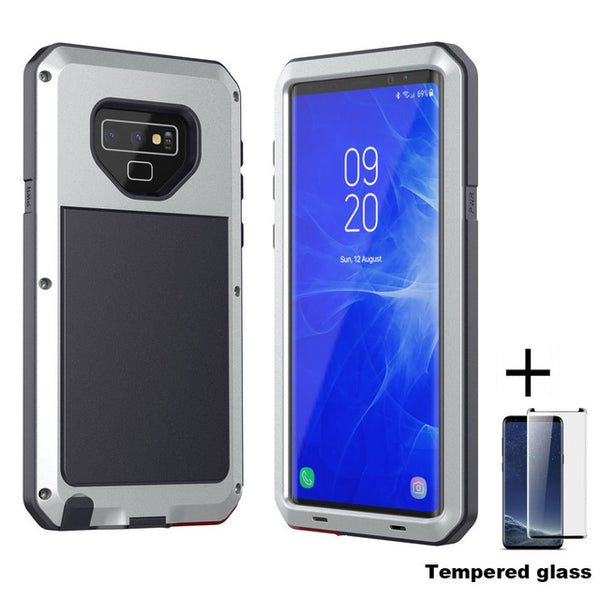 NEW Luxury Doom Armor Dirt Shock Waterproof Metal Aluminum Phone Case for Note 9 S8 S8plus S9 S9Plus Note 8 + Tempered Glass