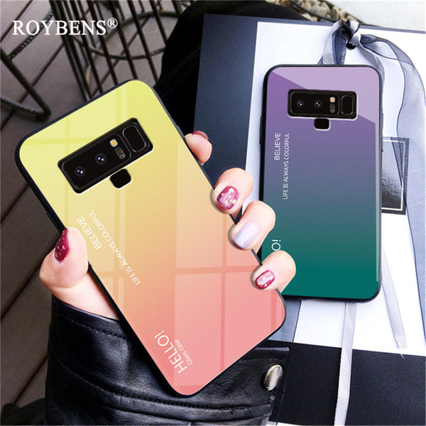 new concept b83ca 14598 Gradient Color Tempered Glass Luxury Case For Samsung Galaxy Note 9
