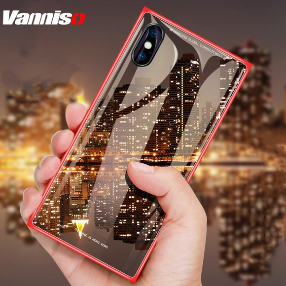 Tempered Glass Magnetic Flip Case For iPhone 7 8 Plus X
