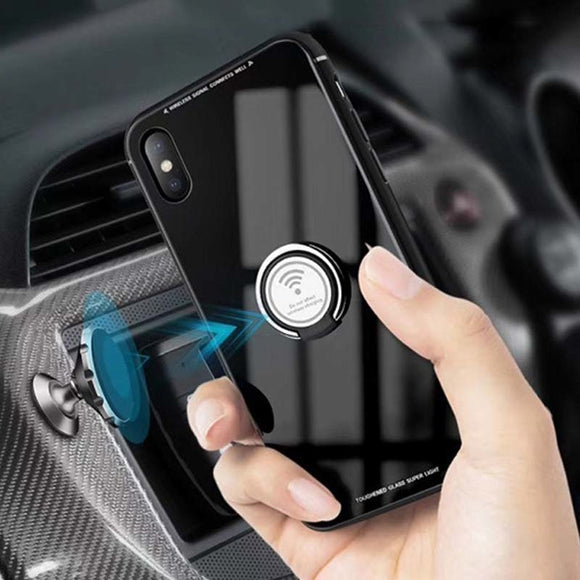 Luxury Tempered Glass Magnetic Ring Holder Case for iPhone