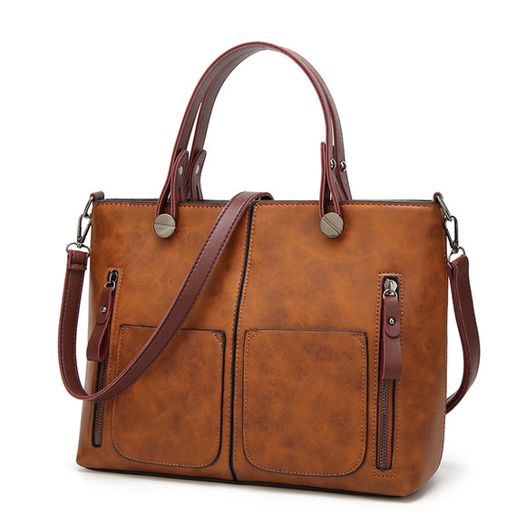 Bag - Vintage PU Shoulder Bag Female Casual Tote Bag