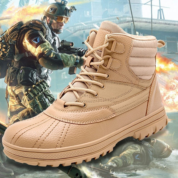 Large Size Outdoor Waterproof Genuine Leather Military Desert Boots