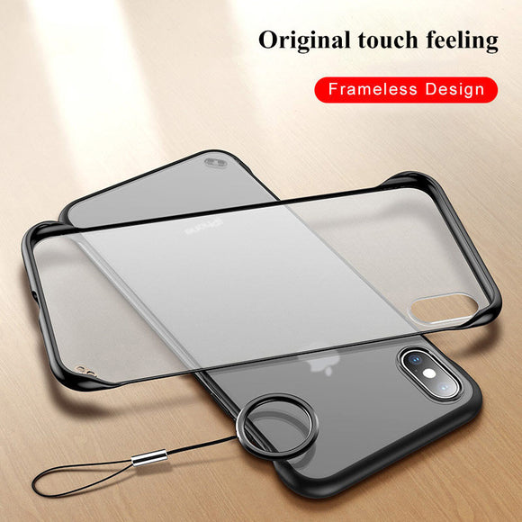 Kaaum-Transparent Frameless With Finger Ring Phone Case For iPhone 11 X XR XS Max