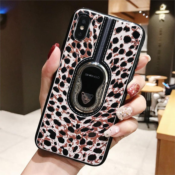 Luxury Leopard Ring Bracket Case For iPhone X XR XS Max