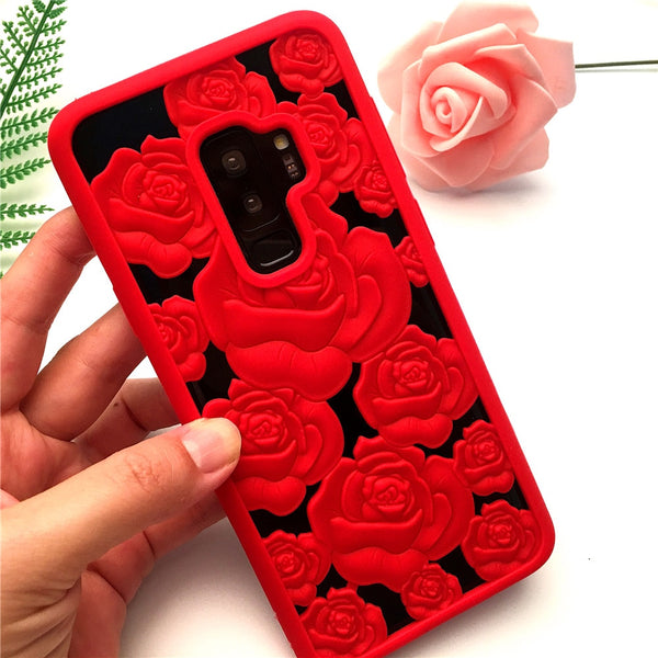 3D Hollow Rose Soft Case For Samsung Galaxy S9/8 S9+/8+