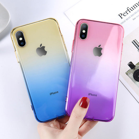 Phone Case - Luxury Ultra Thin Clear Gradient Soft TPU Silicone Phone Case For iPhone XS/XR/XS Max 8/7 Plus
