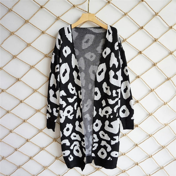 2018 New Leopard Print Women Loose Cardigan Sweater